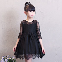 Summer Lace Girl Dress For Wedding Birthday Party Wear Black Three Quarter Sleeve Gown Teenage Girl