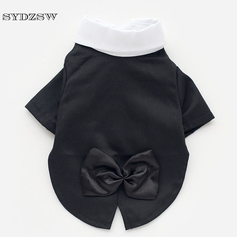 SYDZSW Cat Dog Pet Prince Wedding Suit Bow Tie Party Clothes Fashion Black Puppy Tuxedo Clothing Male Small Dog Costume XS - XXL