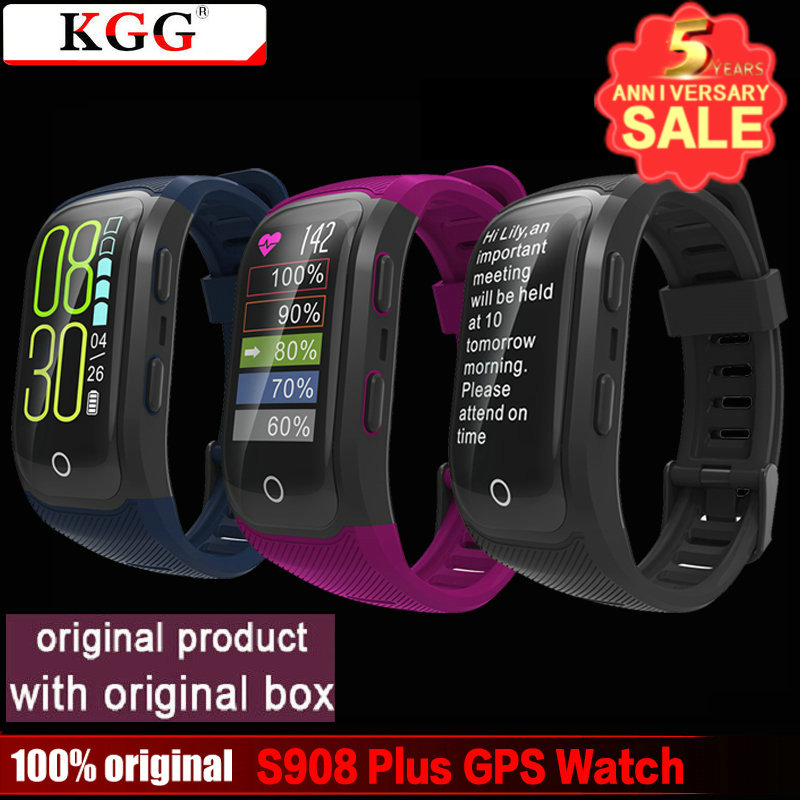 S908 Plus Color Screen GPS Smart Wristband Heart Rate Pedometer IP68 Waterproof Smart Watch with Touch