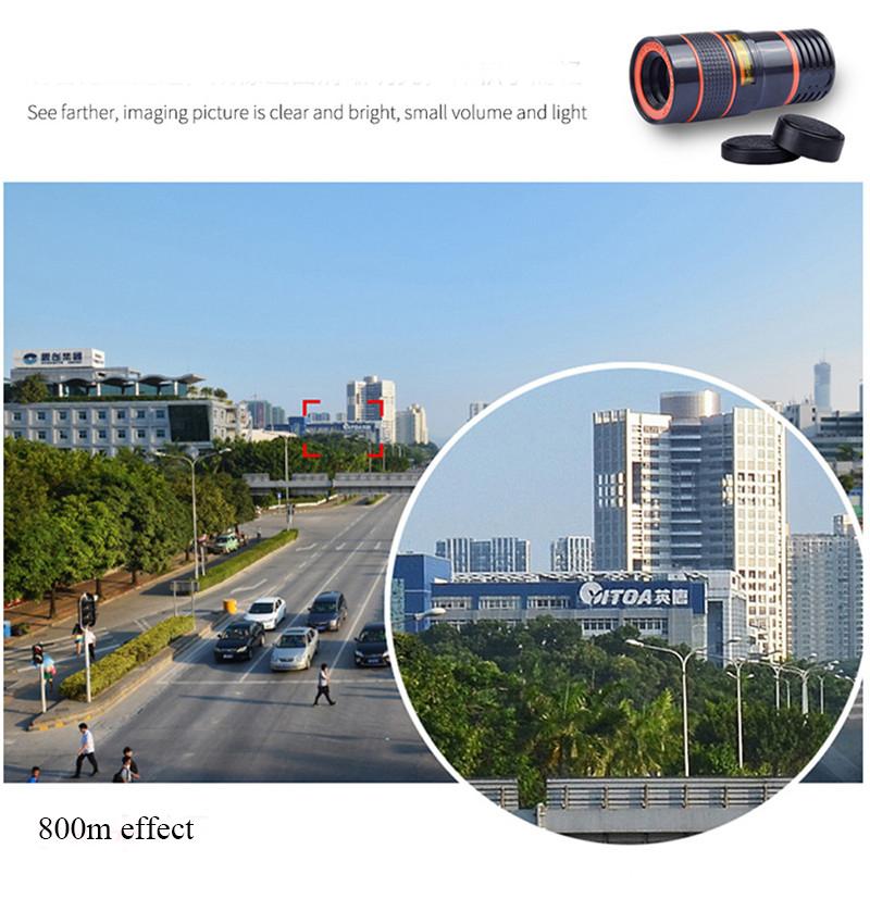 APEXEL 4 in 1 8X Telephoto Telescope Lens+Macro Lens+Wide Angle Lens+Fisheye Lens External Camera Lens For IOS Android Phone 2