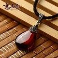 Natural semi-precious stones Red corundum 925 Sterling silver pure water drop Garnet Pendant retro Necklace girlfriend gift