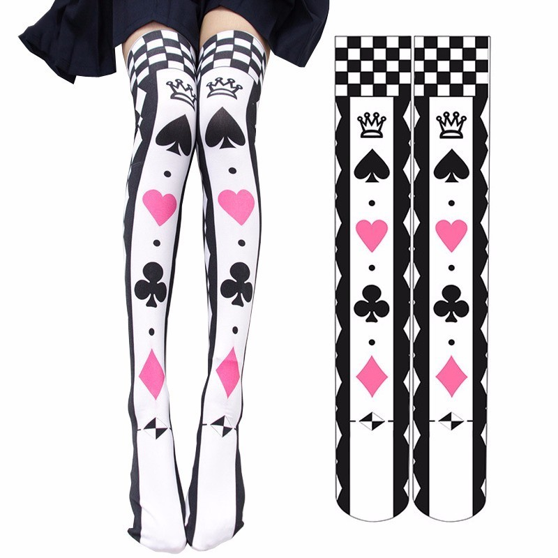 Japanese School Girl Lolita Gothic Style Velvet Over-knee Socks Anime Alice Poker Cosplay 3D Printed Stockings Halloween Costume