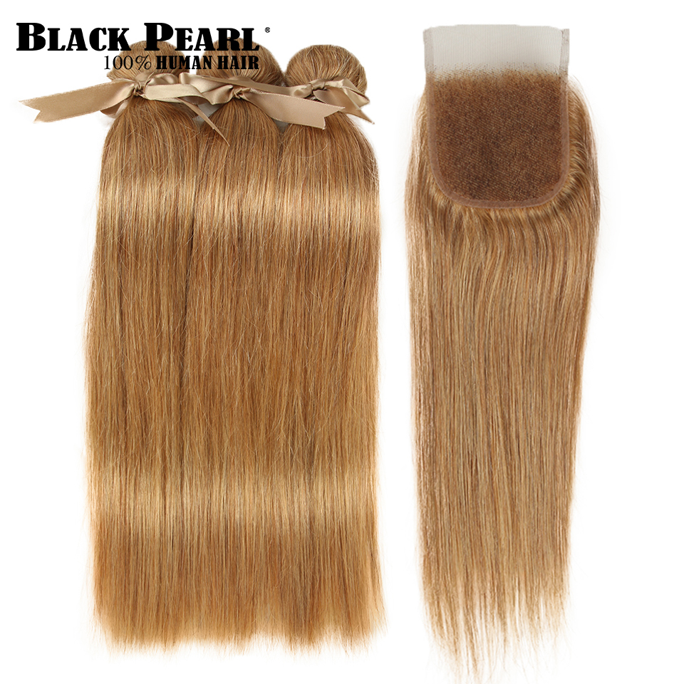 Black Pearl Peruvian Straight Hair 3 Bundles With Closure Free Part Mix Color 27/30 Remy Human Hair Bundles With Closure