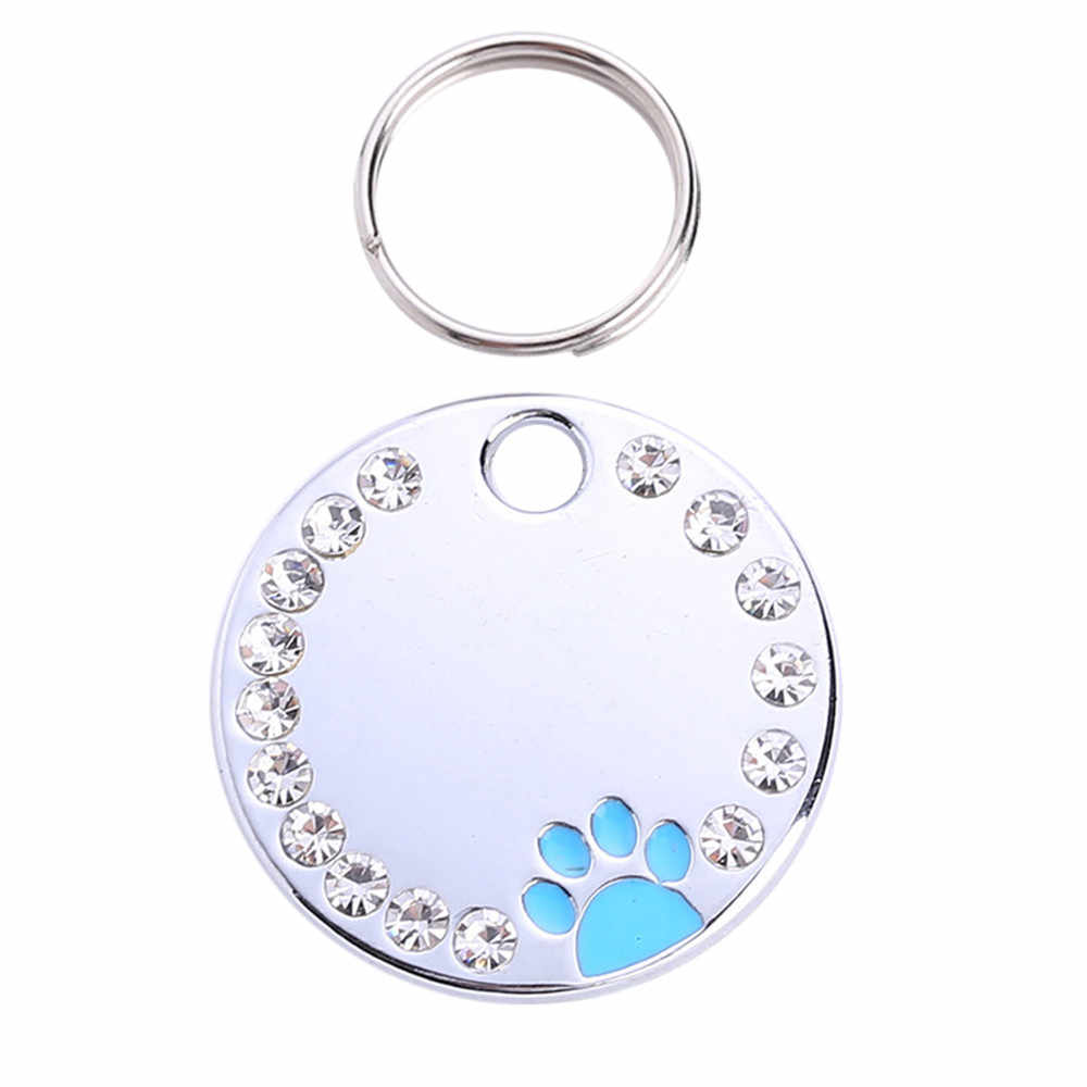 Transer Cute Diamond Paw Dog Cat Black ID Name Tags Pet Jewelry Necklace 19Jan4 P35