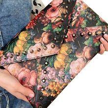 2017 Spring Oil Painting Flower Women's Rivet Handbag Rose Day Clutch Envelope Messenger Bag Fashion High Quality   A40-239