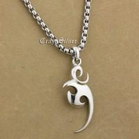 925 Sterling Silver Crescent Mens Biker Rocker Punk Pendant 9V016 (Steel Necklace 24 inches)