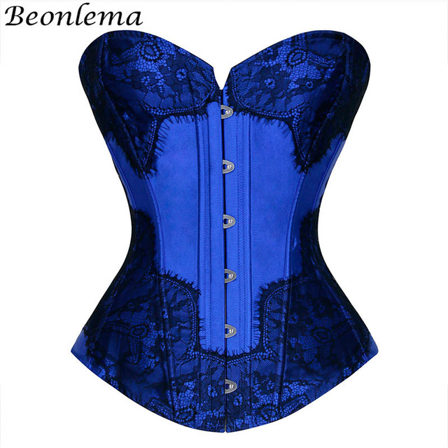6e4d67519f6 Beonlema Royal Blue Sexy Corselet Fashion Purple Overbust Bustiers Floral  Lace Punk Corset Women Wedding Korse Plus Size 6XL