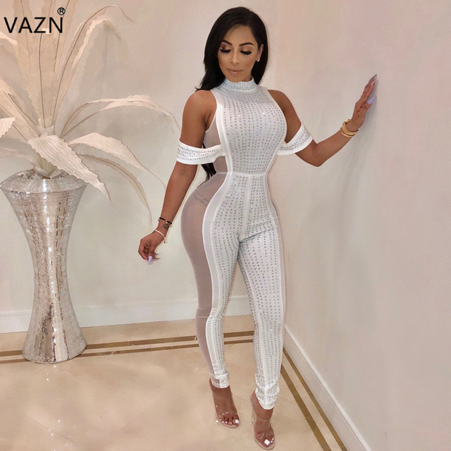 b9e737e204 VAZN 2018 fashion hot sexy plus size jumpsuits women solid diamond skinny  jumpsuits ladies sleeveless o-neck jumpsuits ME2610