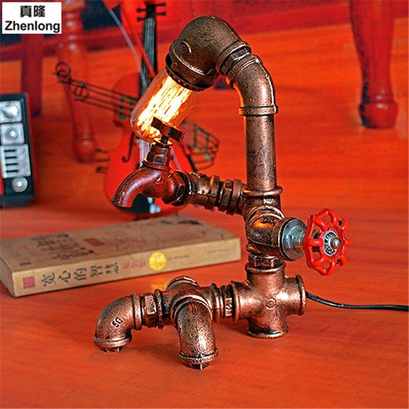 Retro Industriellen Wind E27 LED Edison Glühbirne Studie Bar Cafe Tischlampe Kreative Persönlichkeit Eisen Wasserleitung Schreibtischlampe Decor - 2