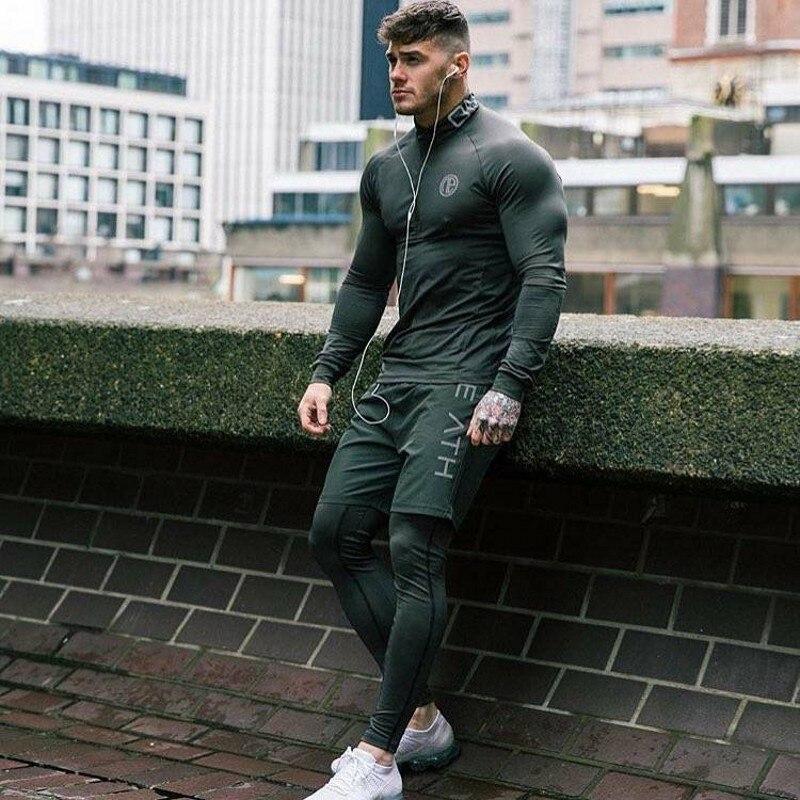 2019 Men's Fashion Sportswear Men's T-Shirt Men's Long Sleeve Fitness T-Shirt Men's Casual Jogger Gyms Workout T-Shirt