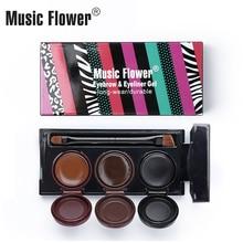 Music Flower Women 3 In1 Eyebrow Palette With Brush And Eyeliner Gel Eyes Makeup Cream Waterproof Make up  Cosmetics