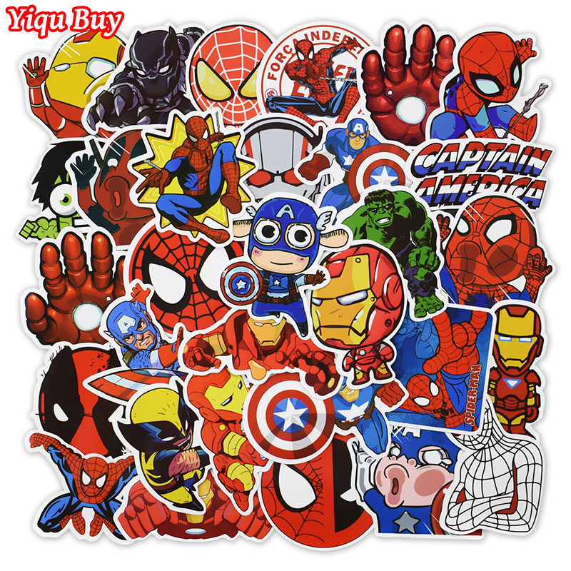 New 50 Pcs Super Hero Stickers For Skateboard Laptop Car Styling Bicycle Luggage Phone Vinyl Decal  Cool PVC Waterproof Sticker