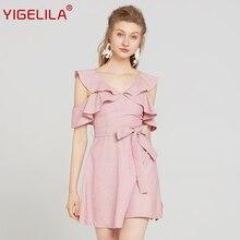 YIGELILA vasaras sieviešu rozā pušķi kleita modes v-kakla piedurknēm bezkrāsains impērija plānas līnijas ceļa garuma cieta kleita 63209