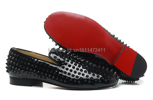 bc7f1d286a1 rollerboy spikes Shoes Mens Dress Shoes Black patent leather Red soles  women Loafer shoes Studded studs spikes