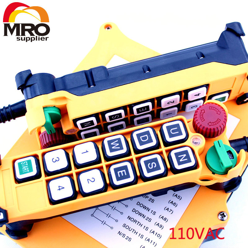 110VAC 10 Channels  2 Speed  2 Transmitter Hoist Crane Truck Radio Remote Control System with E-Stop XH00126