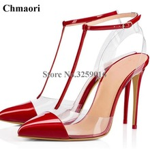 New Fashion Women Sexy PVC Pointed Toe Patent Leather Ankle Strap Rivet  Pumps T-strap 36fe1d17e26e