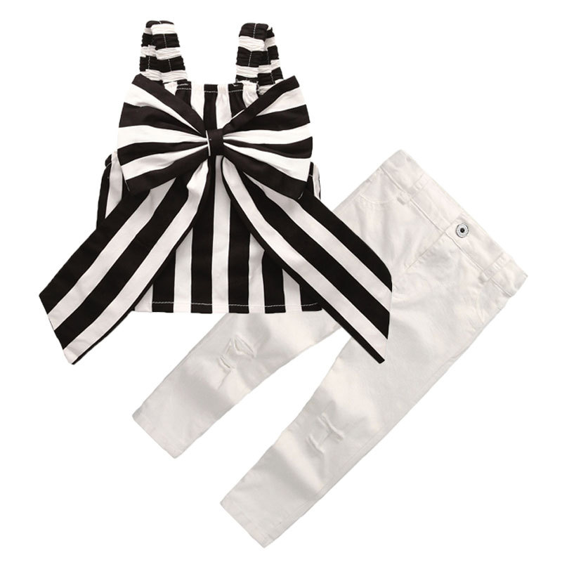 AiLe Rabbit Summer Girls Set Tops and Pants 2 pcs set Stripes bow Ribbon Short Sling  Hole Pants European Style Children's Suits down the rabbit hole