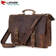 "LEXEB Vintage Crazy Horse Leather Men's Briefcases Attached 15"" Laptop Case Business Shoulder Bag For Men Crossbody Bags Brown"