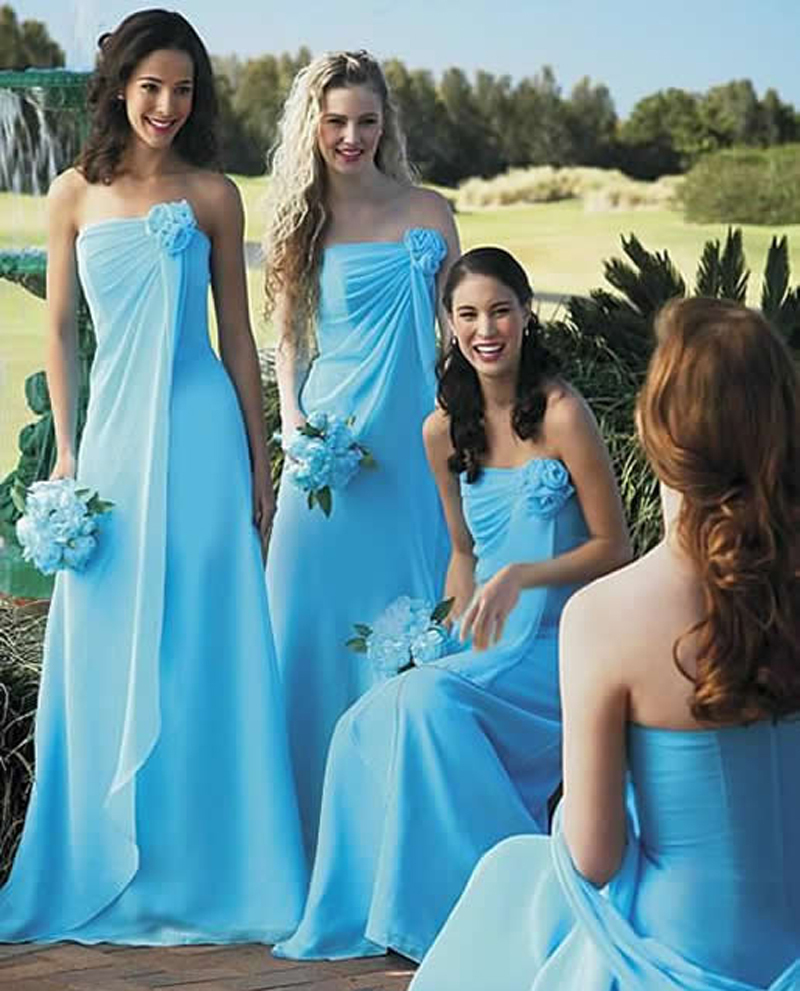 Country style long wedding party brides maid gowns vestido de country style long wedding party brides maid gowns vestido de chiffon light aqua blue bridesmaid dresses 2015 for bridesmaids in bridesmaid dresses from ombrellifo Gallery
