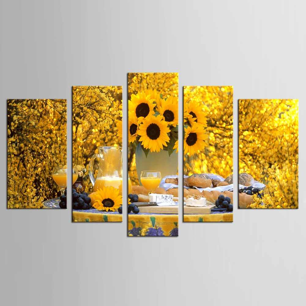 5 pcs Hot Canvas Printed Sunflower Wall Painting Art Poster  Picture for Living Room Canvas Painting Art Works