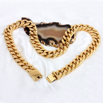20MM New necklace Man domineering  gold  ultra thick necklace Titanium steel necklaces