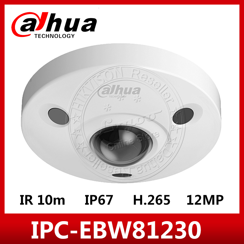 <font><b>Dahua</b></font> IPC-EBW81230 <font><b>12MP</b></font> Ultra Panoramic POE IP67 1K10 SD IR 10M Network IR Fisheye <font><b>Camera</b></font> With logo image