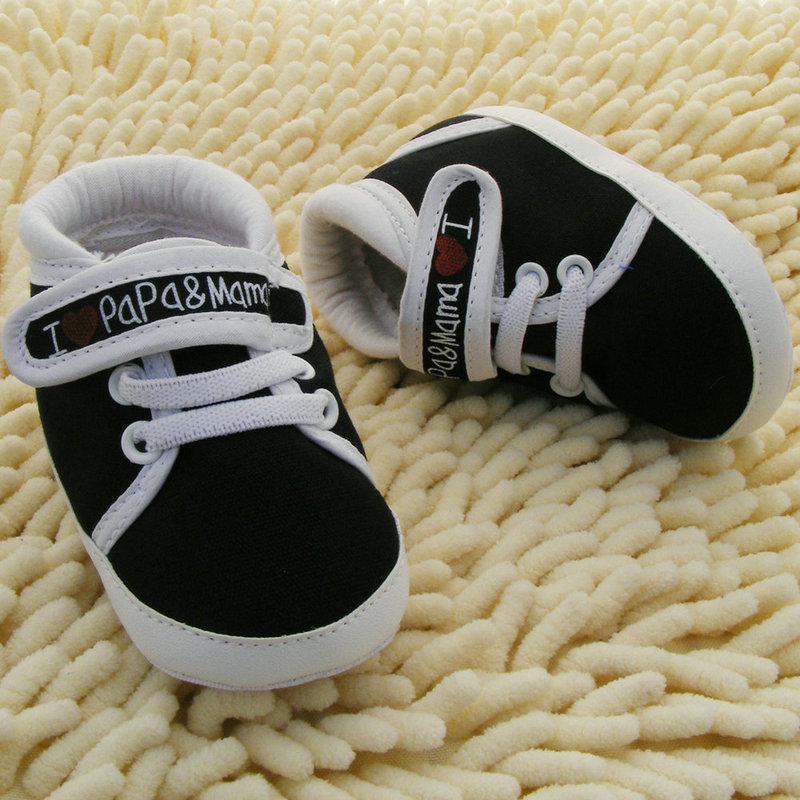 Baby Shoes I Love PaPa&MaMa Letter Printed Soft Bottom Footwear Heart-shaped 0-18M 2018 New First walker