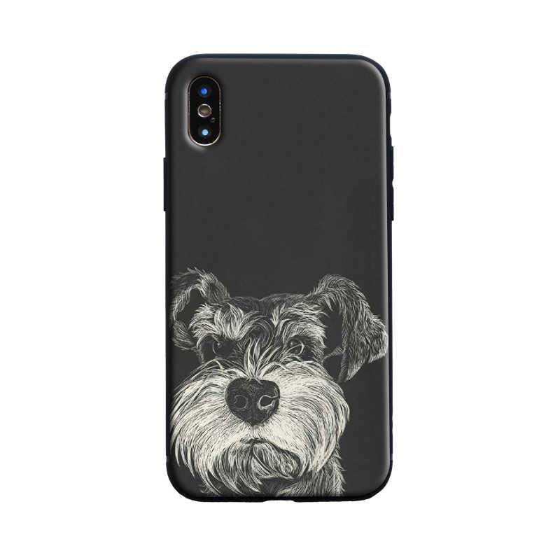 Чехол для телефона с милыми собаками Шнауцер для iphone 7 8 6 6s Plus x xs max xr 5S 11 pro max чехол с милыми животными мягкий матовый чехол
