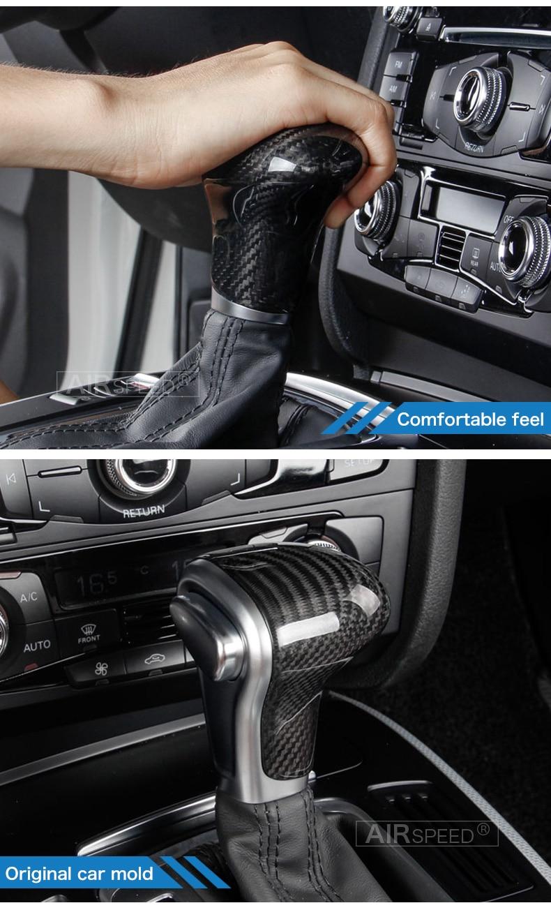Carbon Fiber Gear Shift Knob Cover Head for Audi A4 B9 B7 A5 Q7 A3 S3 A4 B8 A5 C6 A6 C7 C6 S6 A7 S7 A8 Q5 Accessories (4)