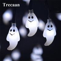 Trecaan 4 8M 20leds Waterproof Cute Ghost Solar Powered Led String Light Outdoor Decoration Halloween Garden