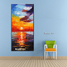 Aritist Hand Painted Knife seascape Oil Painting new Beautiful Sunset picture For Living room Wall Art Home Decor Modern Picture