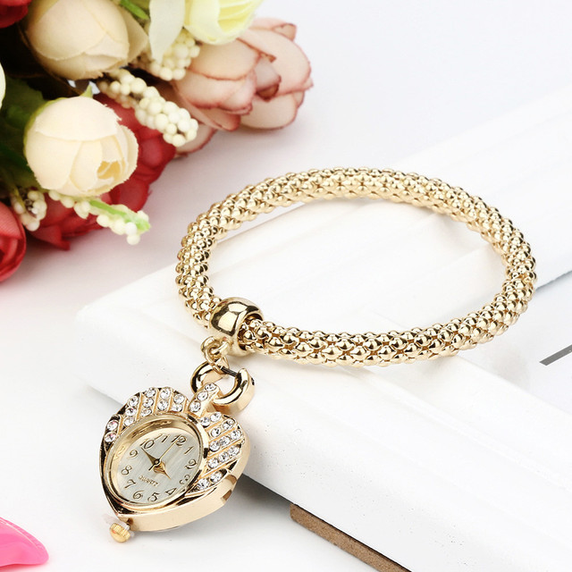 ISHOWTIENDA women watches Jewelry & Watches Fashion Heart Shape Female Lady Brac