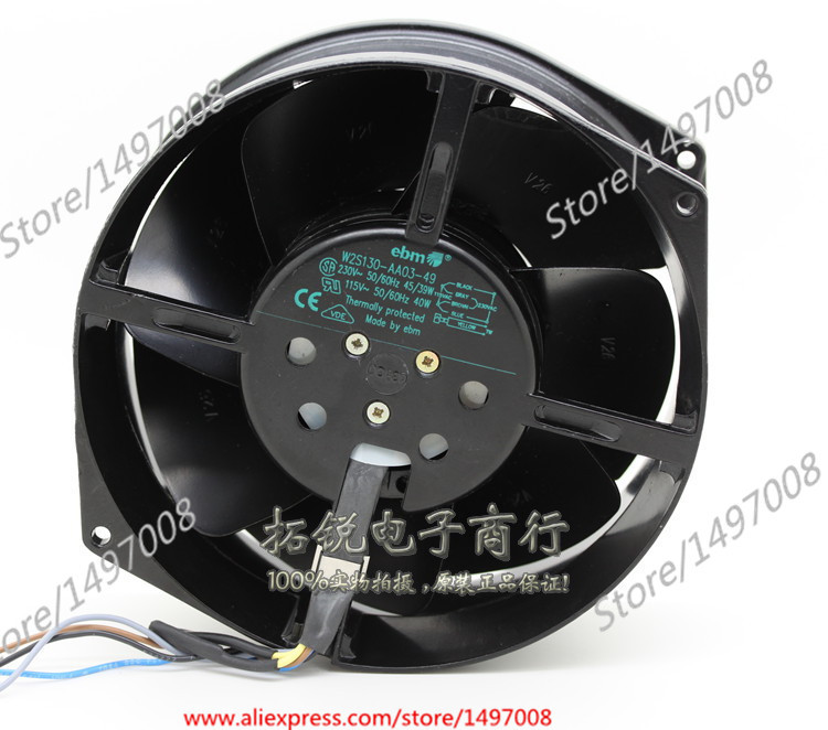 ebmpapst W2S130-AA03-49 AC 230V 45/39W 110mm, 172x150x55mm Server Round fan free shipping emacro fujitsu uf 15kmr23 bwhf ac 23v 45w 2 wire 110mm 172x150x55mm server round cooling fan