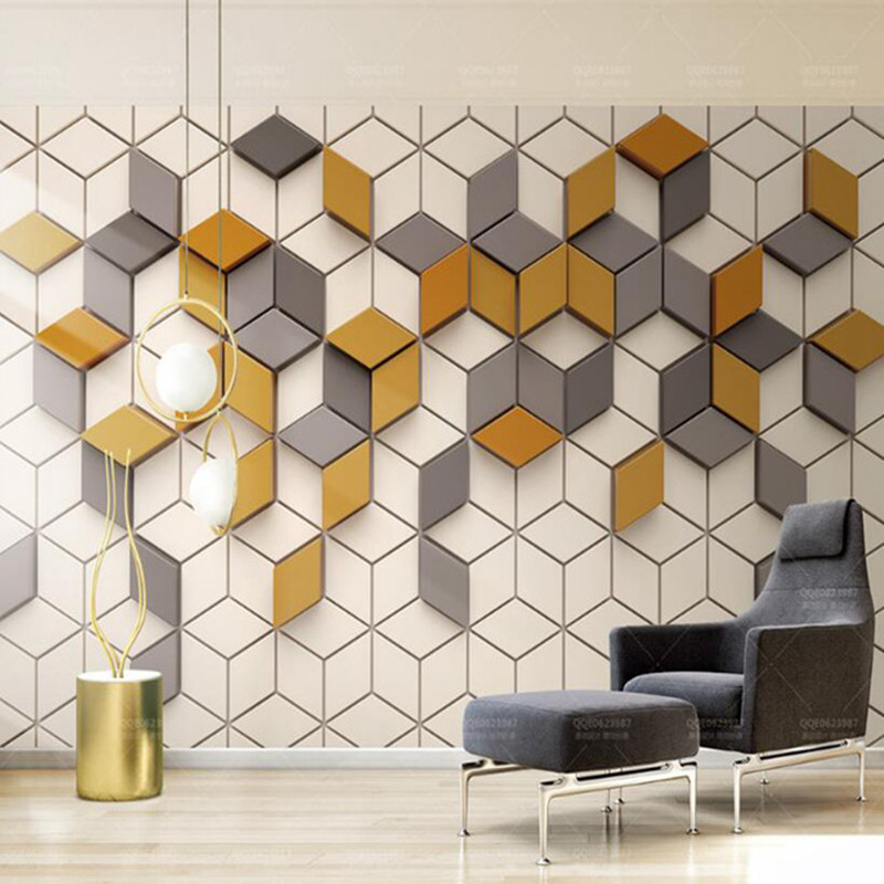 Wallpapers Moredn 3D Stereo Photo 3D Wall Murals Desktops Wall Murals Yellow Geometric Bedroom For KTV Bar Room Decor