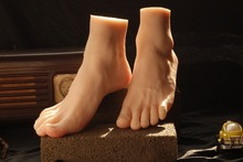 New size 42 silicone real skin fake male feet sex doll for women with skeleton model drop shipping