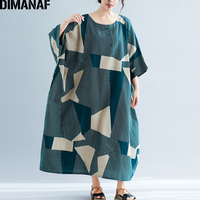 DIMANAF Plus Size Women Dress Summer Sundress Big Size Batwing Female Vestidos Loose Vintage Lady Dress Linen Striped 5XL 6XL