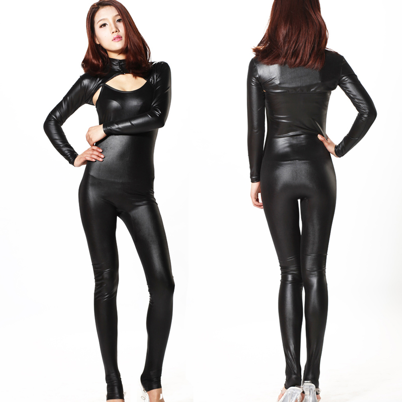 2 pièces/ensemble Sexy 100D brillant Faux cuir Latex Sexy Body Catsuit string Body costumes tenue de club haute coupe Moto & motard tenue de club F12