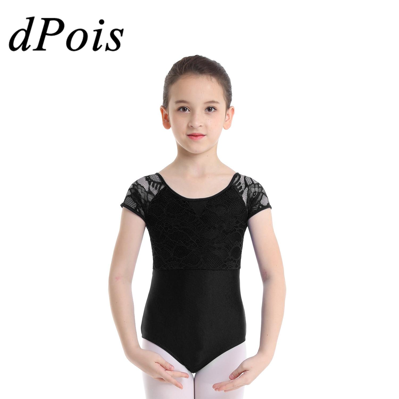 Kids Girls Floral Lace Gymnastics Leotard Ballet Dance Dress Jumpsuit Costume