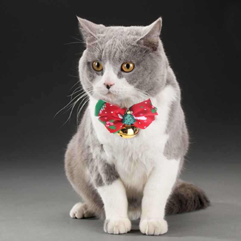 2018 NEW Christmas Santa Claus Pet Cat Bell Bow Tie Necktie Dog Collar Puppies Cachorro Kitty New Year Party Outfit Cat