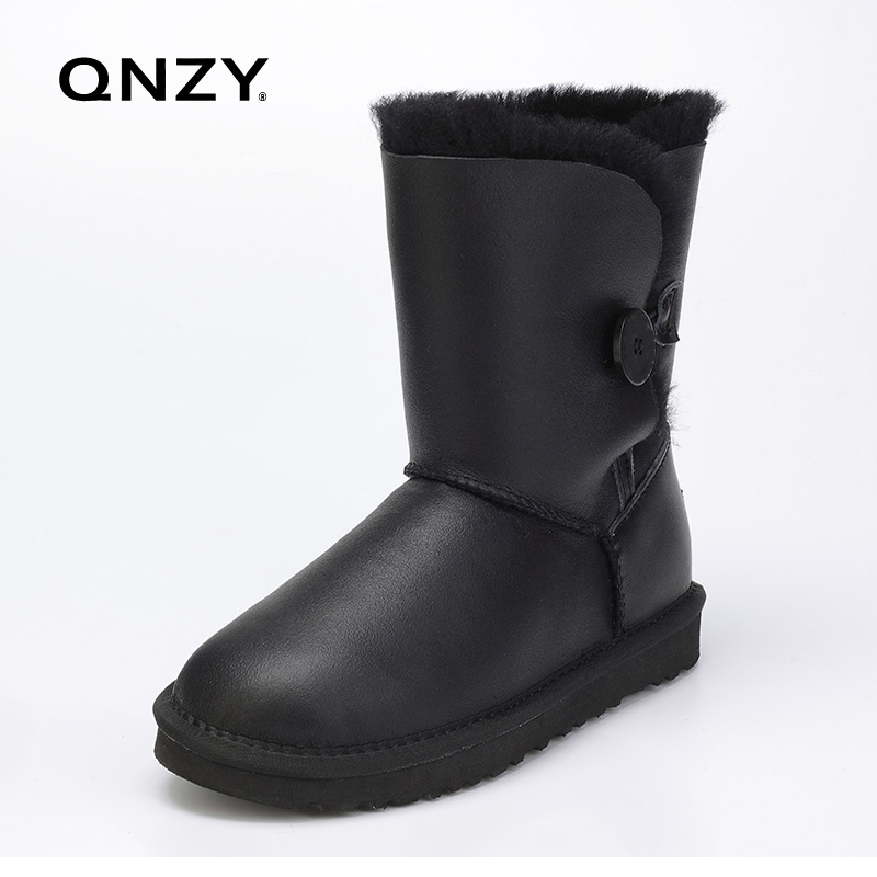 ФОТО QNZY Quality assurance 100%sheep skin wool waterproof snow boots female calf height winter flat bottom warm Boots Free Shipping