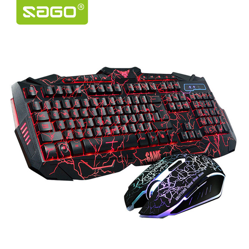 Sago RGB Gaming Keyboard Russian/English Version Keyboard and Mouse Red/Blue/Purple Backlight Keyboard for Tablet Desktop