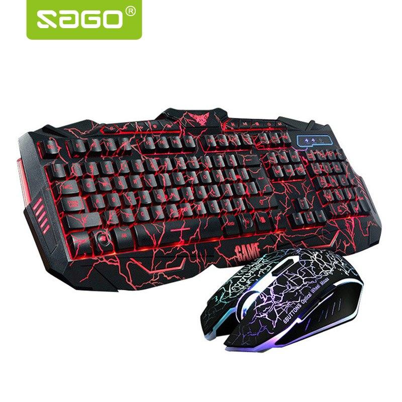 Sago RGB Gaming teclado ruso/Inglés versión teclado y ratón rojo/azul/púrpura retroiluminación teclado para Tablet escritorio