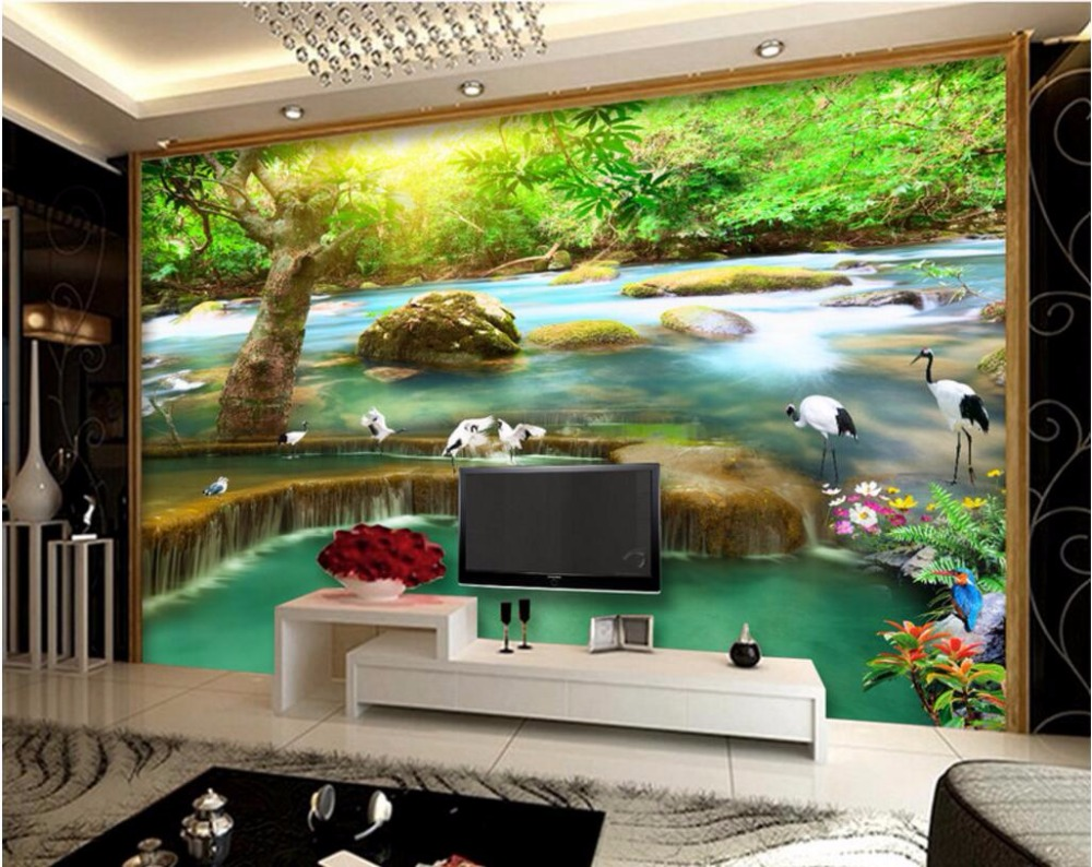 3d wall murals wallpaper for walls 3 d wallpaper sun forest falls 3d wall murals wallpaper for walls 3 d wallpaper sun forest falls cranes background wall room decor custom mural photo painting in wallpapers from home amipublicfo Choice Image