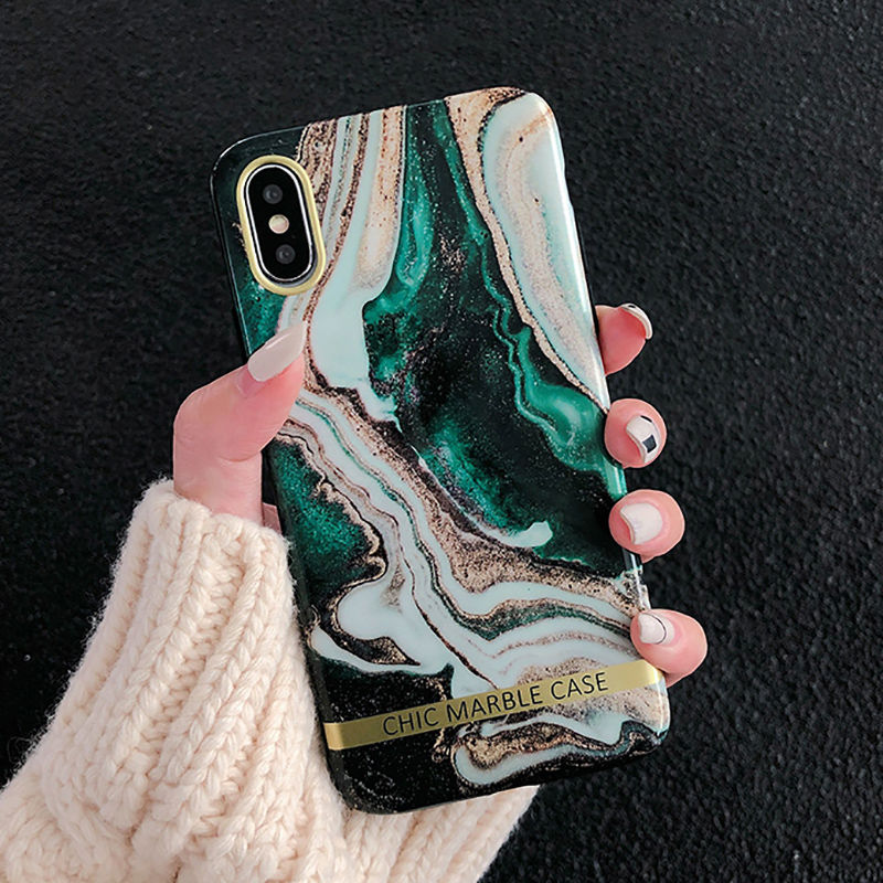 Clothing - Artistic Agate Marble Gold Bar Phone Case For iphone XS XR XS Max 6 6S 7 8 Plus