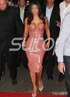 rubber dress suit women latex clothes Kim Kardashian same style super star Leather dresses set SUITOP vestidos
