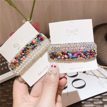 Colorful Stone Pearl Crystal Hair Clips For Women Korea Hair Accessories Rhinestone Hairpins Flower Hairgirps Barrette BB Clips flower crystal hair clips popular wedding bridal pearl rhinestone hair pins bridesmaid clips hairwear hair accessories for women