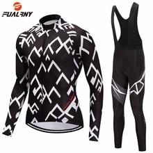 FUALRNY Autumn Winter Thermal Fleece Cycling Clothing Set Long Sleeve Bike Wear MTB Jerseys Bib Pants Mens Jersey Sets