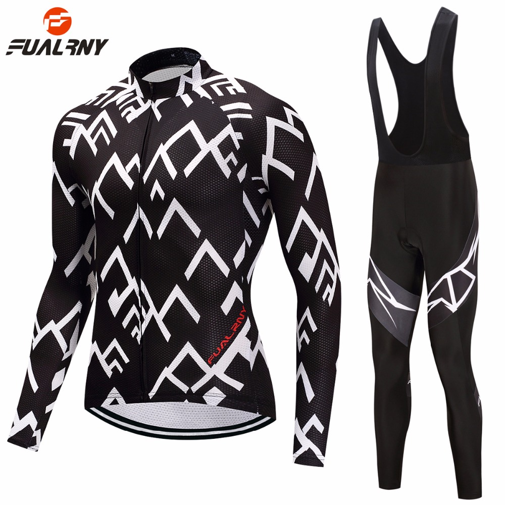 FUALRNY Thin/Fleece Pro Black Long Sleeve Cycling Jersey Sets 9D Gel Padded Sportswear Mountain Bicycle Bike Apparel Cycling Set wosawe pro long sleeve cycling jersey sets breathable 3d padded sportswear mountain bicycle bike apparel cycling clothing fcfb