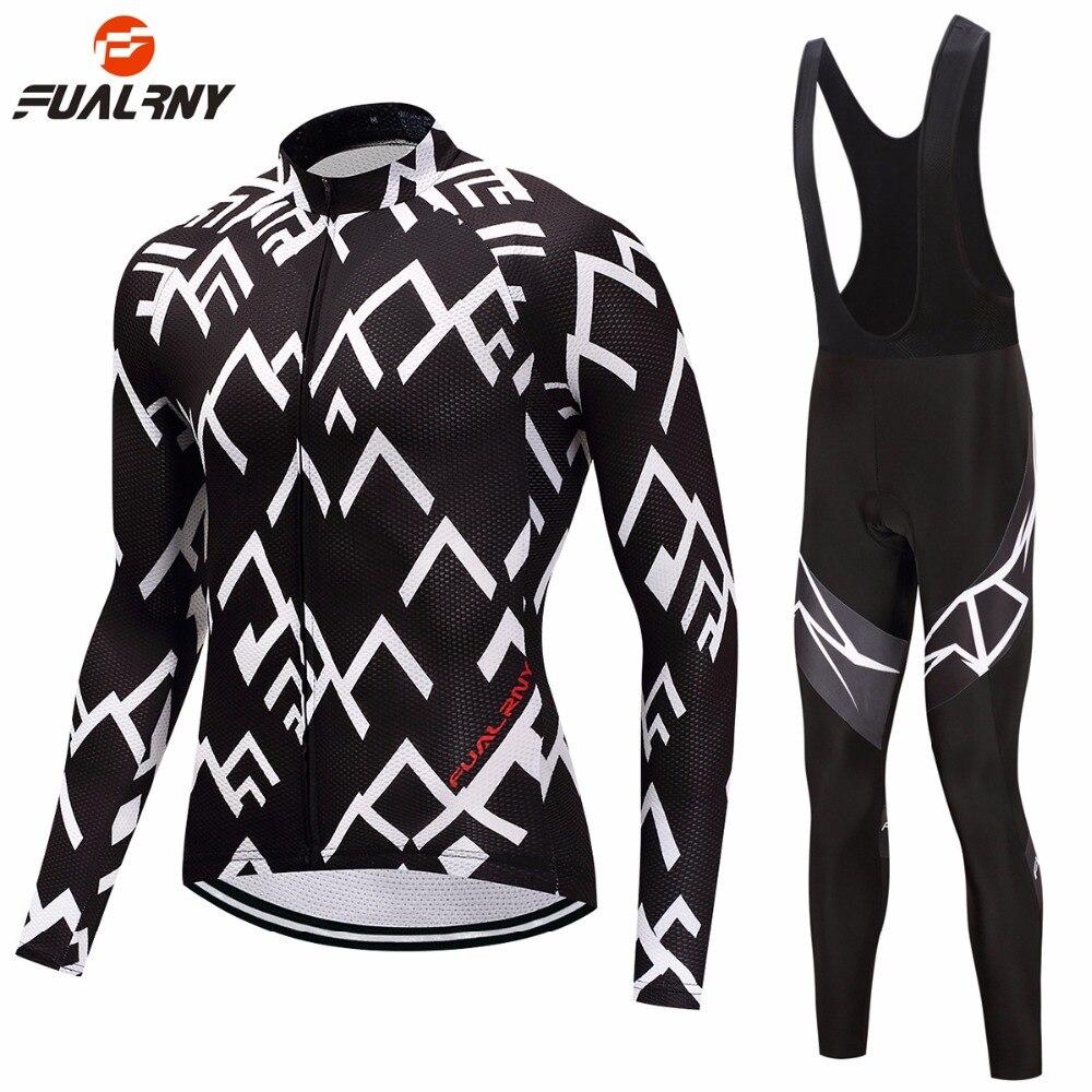 FUALRNY Thin/Fleece Pro Black Long Sleeve Cycling Jersey Sets 9D Gel Padded Sportswear Mountain Bicycle Bike Apparel Cycling Set
