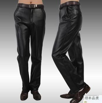 Motorcycle leather pants mens winter loose straight plus velvet thicken plus size mens faux leather trousers male black fashion